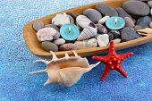 Wooden bowl with Spa stones, sea shells and candles on color background