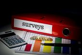 The word surveys on red business binder on a desk