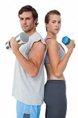 Portrait of a fit young couple exercising with dumbbell over white background