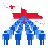 Lines of people with Georgia map flag vector illustration