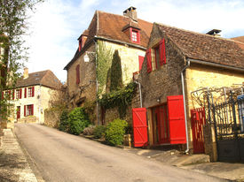stock photo of domme  - The medieval French hill top town of Domme - JPG