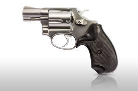pic of handgun  - .38 inch caliber revolver handgun, isolated with clipping path - JPG