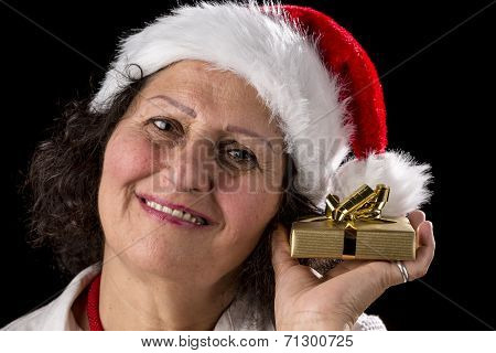Middle-aged Woman Holding Golden Gift