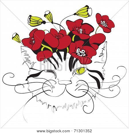 cat head with poppy flowers