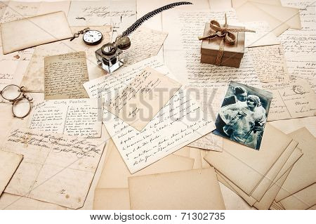 Old Letters, Vintage Postcards And Retro Picture Of Couple