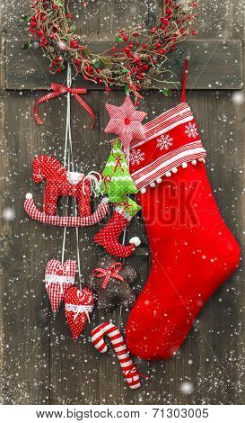 Christmas Decoration Santa's Sock And Handmade Toys