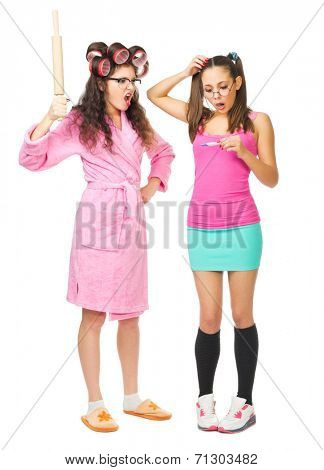 Angry housewife with her daughter  isolated