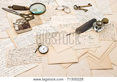 Old Letters And Postcards And Photo Of A Family