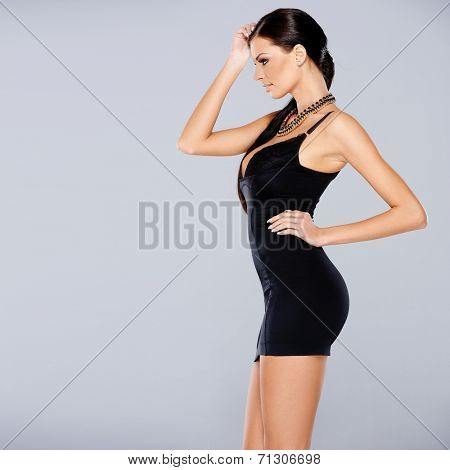 Adorable glamour woman in sexy dress posing isolated