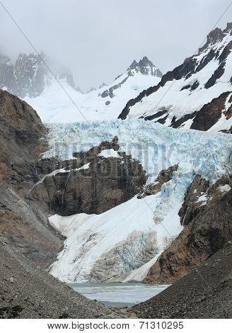 Glacier and snow capped mountains