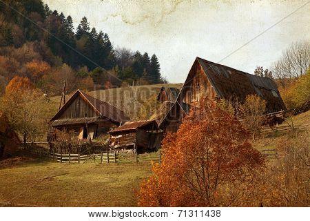 Vintage photo of autumn rural landscape