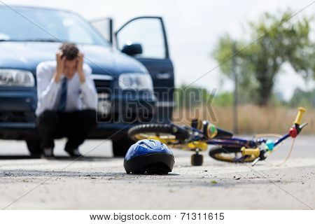 Sad Driver After Collision With Bicycle