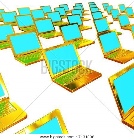 Group of gold laptops  in network