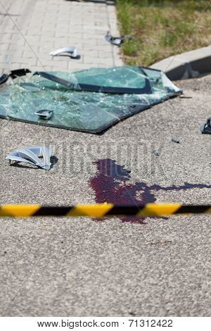 Road Accident Scene Secured With Yellow Tape