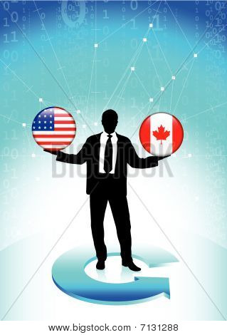 Businessman Holding United States And Canada Internet Flag Butto