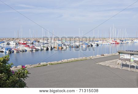 SIMRISHAMN, SWEDEN  ON SEPTEMBER 03. Minor sailboats and motorboats.