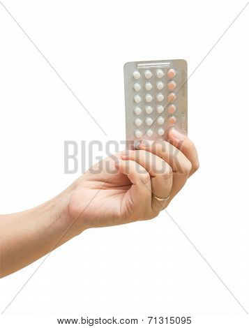 Woman Hand Holding Contraceptives