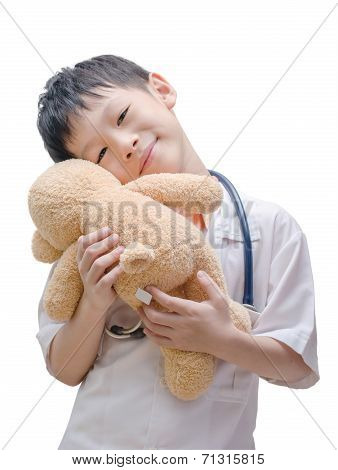 Asian Doctor Boy Holding  Bear Toy