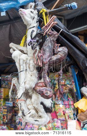 Dead Llamas In A Market