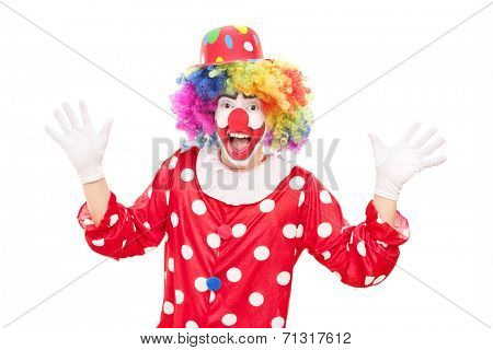 Male clown gesturing with hands isolated on white background
