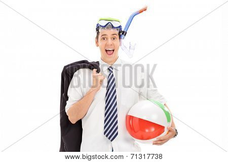 Businessman with diving mask and a beach ball isolated on white background