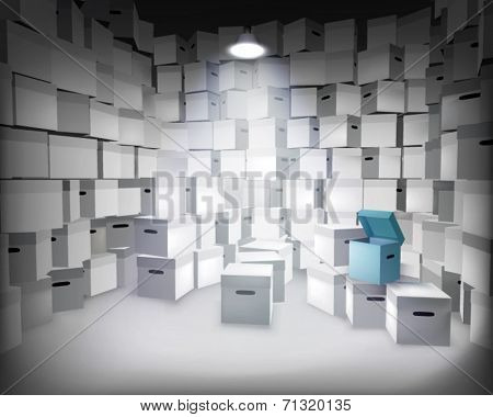 Store with boxes. Vector illustration.