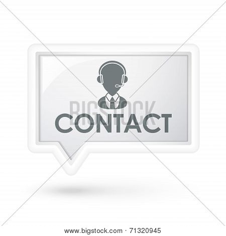 Contact Word With Service Icon On A Speech Bubble