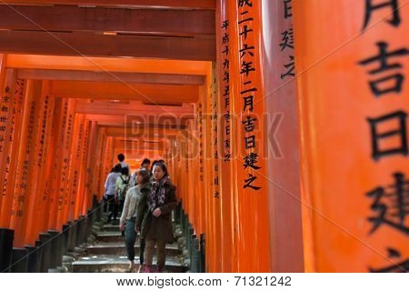 KYOTO, JAPAN - APRIL 27th : Tourists walk in thousands of Torii of Fushimi Inari Taisha Shrine in Kyoto, Japan on 27th April 2014.