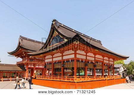 KYOTO, JAPAN - APRIL 27th : The temple building of Fushimi Inari Taisha Shrine in Kyoto, Japan on 27th April 2014.