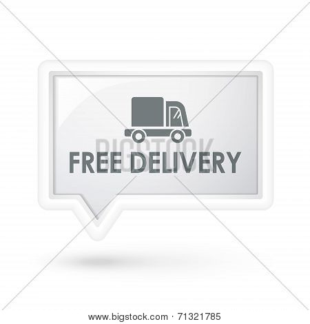 Free Delivery With Truck Icon On A Speech Bubble