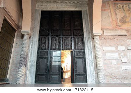 Central Doorway Of Saint Sabina Basilica In Rome