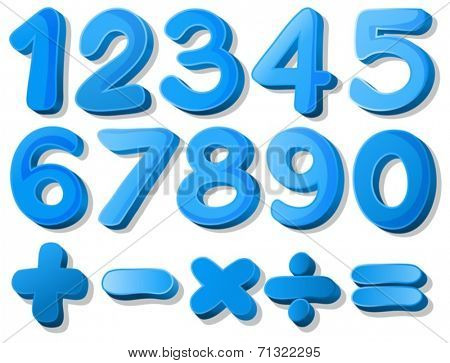 Illustration of a set of blue numbers