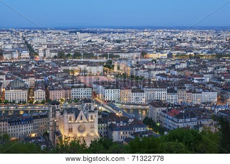 View Of Lyon City From Fourviere At Night