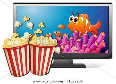 Illustration of a television and popcorn