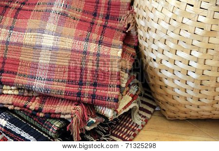 Hand woven placemats and woven basket
