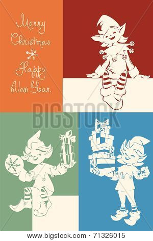 Santa elf on Christmas card, bunner, lettering