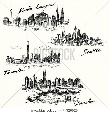 Toronto, Seattle, Shenzhen, Kuala Lumpur - hand drawn collection