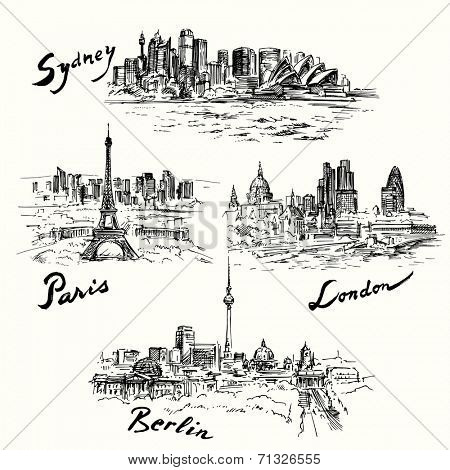Paris, London, Berlin, Sydney - hand drawn collection