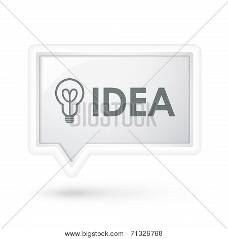 Idea Word With Bulb Icon Over Speech Bubble