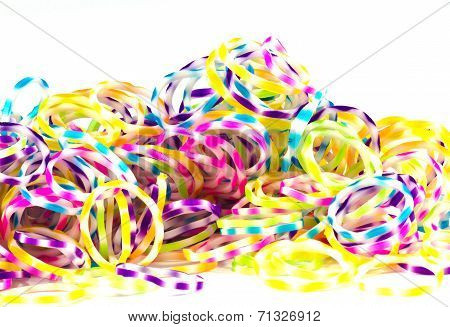 Close Up Of Colorful Elastic Bands Rainbow Color Full On White Background