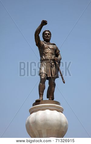 SKOPJE, MACEDONIA - MAY 17: Warrior with accompanying elements in Skopje. 29 meters tall Philip II Macedon Sculpture in Skopje, Macedonia on May 17, 2013