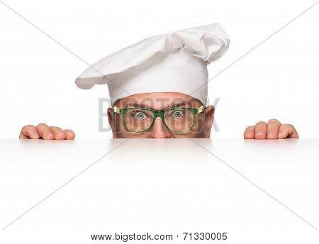 Funny Overweight Chef Peeking