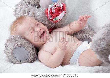 Crying Newborn Baby. Baby Boy Cry