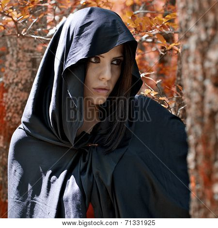 Magic Fantasy Atmosphere Of Woman With Hood
