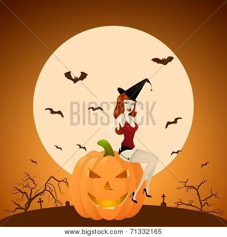 Beautiful Red-haired Pinup Witch On Pumpkin