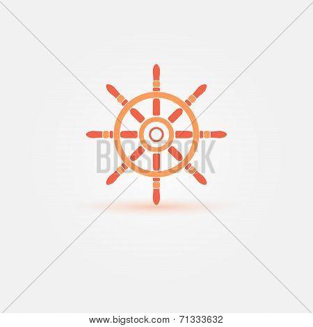 Steering wheel - orange bright vector symbol