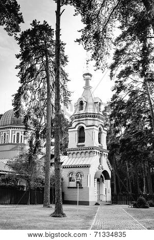 Orthodox Church in Jurmala, black and white