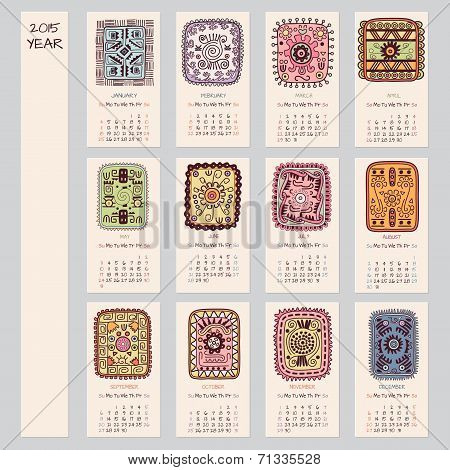 2015 Year Ethnic Calendar Design, English, Sunday Start