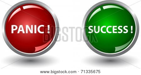 Red panic button  and green success button.
