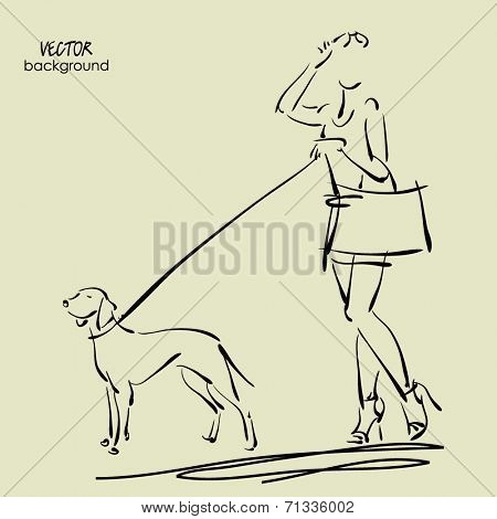art sketch walking beautiful young women in short skirt, tank top and eye glass with dog